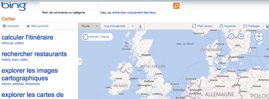 Le service de cartographie de Bing